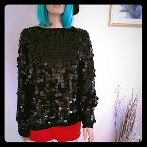 Sweaters - VINTAGE Sequin Chunky Sweater Black Women's S M