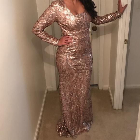 Badgley Mischka Dresses Blush Sequin Gown Poshmark
