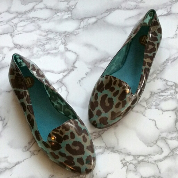802c3605862 Melissa VIRTUE Leopard Print Loafers Teal Brown 7.  M 595c37f26d64bc6a810293a5