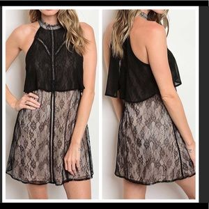 🎉sexy black and beige lace dress🎉🎉