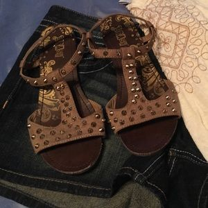 Shoes - light brown sandals with gold studs