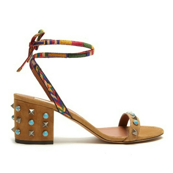 49b8fa7dcd62 NiB Valentino Rockstud Suede Sandals 10.5M