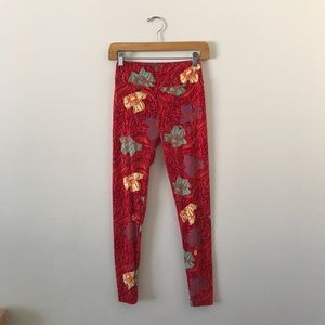LuLaRoe red floral one size OS leggings