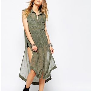 Free People olive green Chiffon maxi duster vest