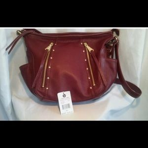 Linea Pelle wine leather messenger bag Nwt