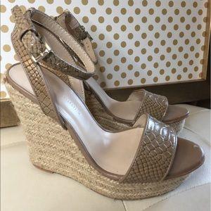 Zara Nude Platform Espadrille Sandal Sz 6