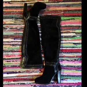 Shoes - Insanely SEXY Black Leather & Suede Knee BootsNWOT