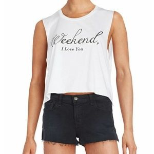 Wildfox Cropped Weekend Chad Tank Top White M NWT