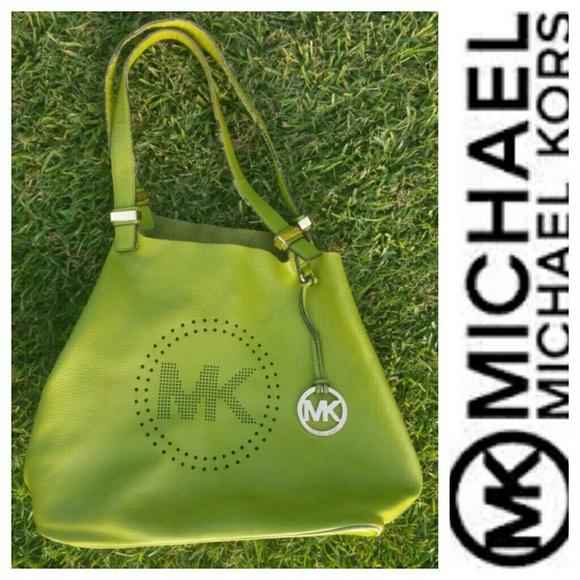 93e5a62a1d0c ... Large Green Grab Bag Michael Kors Perforated Leather Logo a grab Bag ...