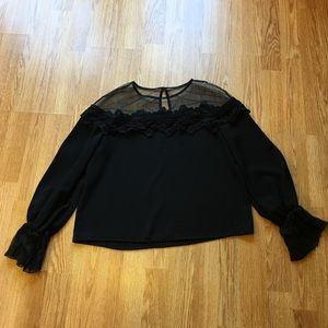 Tops - Black top with sheer neckline Size Small
