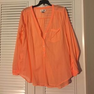 Old navy orange sheer tunic new without tags large