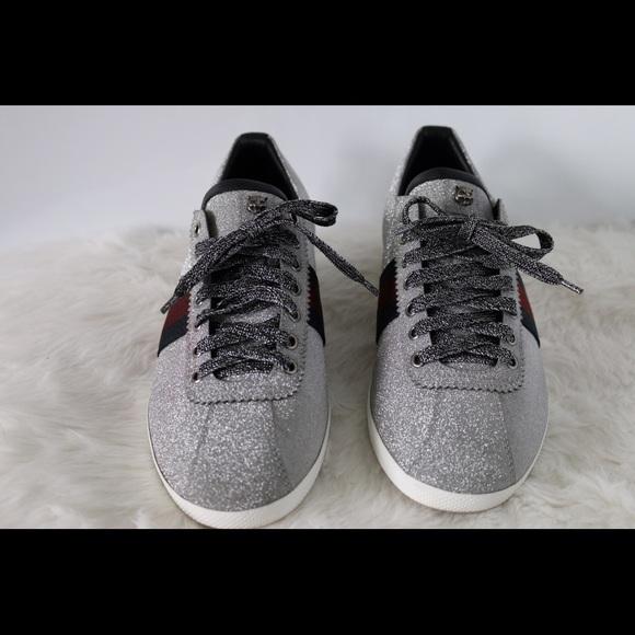 e580aab8e0a Gucci Shoes - Gucci Glitter Web Sneaker Studs 414684 KW040 8162