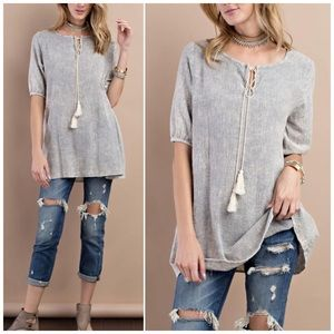 Washed Ash Tunic With Front Tassel Front