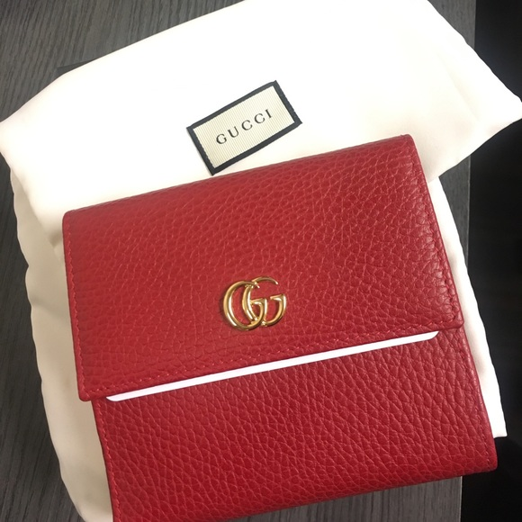 8d5b99adffd0 Gucci Bags | Red Leather French Flap Wallet | Poshmark