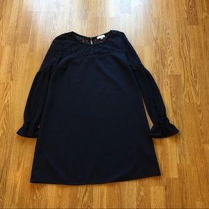 Dresses & Skirts - Longsleeve Navy Dress w/ Lace Neckline Size Small