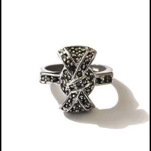 925 Sterling Silver Marcasite Bow Ring
