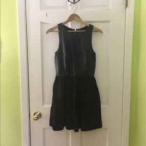 Black Leather and Brocade Cocktail Dress