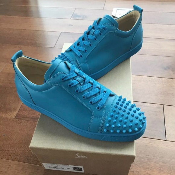 promo code 956be 3f13a Christian Louboutin Junior Spikes Egyptian Blue NWT