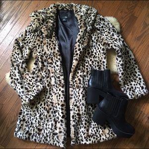 60's Vintage Style Leopard Fur Coat