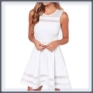 Dresses & Skirts - 🆕 White Fit and Flare Dress With Mesh Inserts
