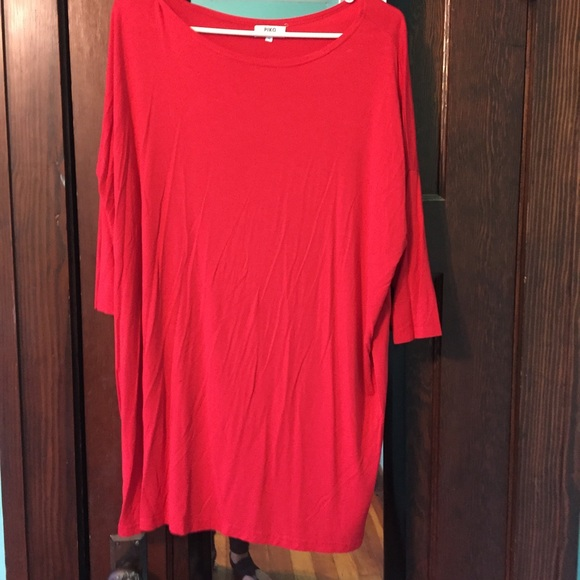 54447d748c5 Red Piko Tunic w 3 4 Sleeves