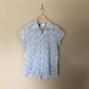 Tops - Blue Floral Maternity Nursing Button Down
