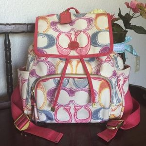 Rare Coach signature poppy backpack