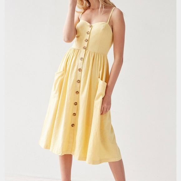 f69a515c31a Urban Outfitters Emilia Linen Button Down Midi. M 595d26cdd14d7b930613eabb.  Other Dresses ...