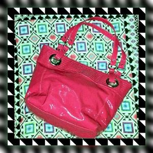 Handbags - • Pink Faux Patent Leather Bag