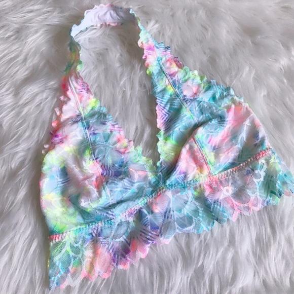 Best Vs Pink Neon Rainbow Floral Lace Halter Bralette | Poshmark FS29