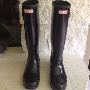 Hunter Boots Sz 8 tall gloss original rain boots