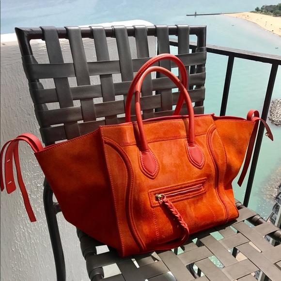 Celine Handbags - Celine Phantom luggage tote orange suede 2a1aab9165c65