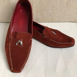 Salvatore Ferragamo rust brown suede loafers 9.5C