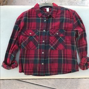 Cropped red and green flannel