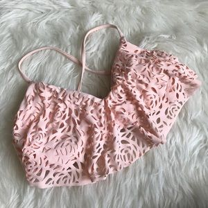 Xhilaration Blush Pink Rosette Bathing Suit Top