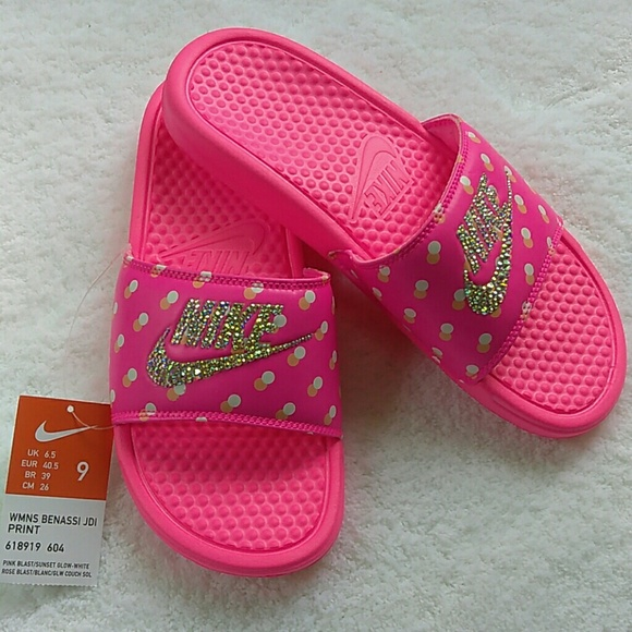 Bling Rhinestone Nike Slides Sandals