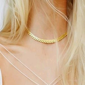 Jewelry - 5 for $25 Gold Color Fish Bone Choker Necklace