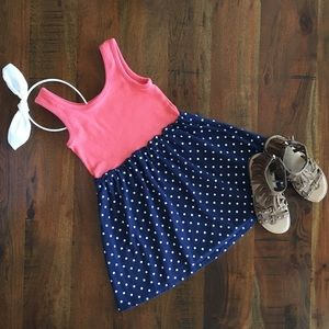 Other - Girls Coral/Navy Blue Polka Dots Dress