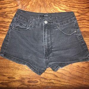 Forever 21 Dark Grey Denim High Waisted Shorts