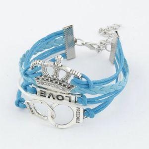 Jewelry - NWOT Blue love, crown, & freedom bracelet