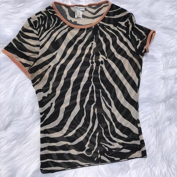 ba548661ebec89 Dolce   Gabbana Tops - Dolce Gabbana Intimo Sheer Zebra Animal Print Top