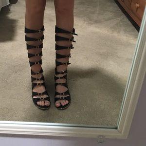 lf black gladiator sandals