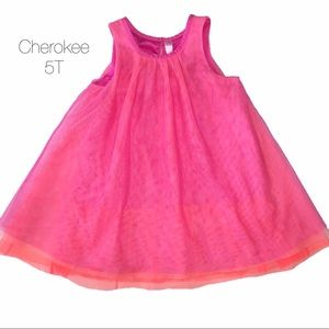Cherokee Pink Orange Neon Tulle Dress 5T