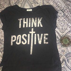 """""""Think Positive"""" hi-low T-shirt"""
