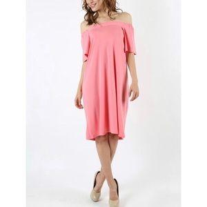 Rose Pink Off the Shoulder Dress