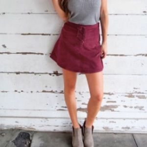 Maroon lace up skirt