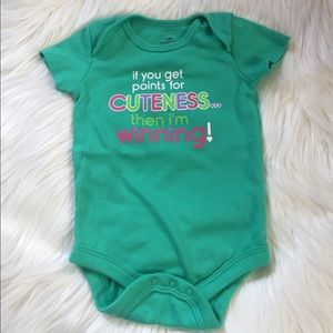 Other - NWOT Green Graphic Onesie Cute Winning