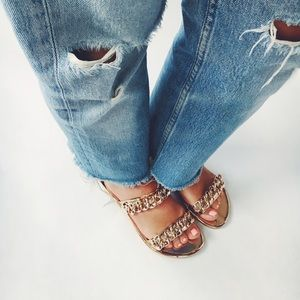 Shoes - Final Sale Rose Gold Metallic Chain Link Slides