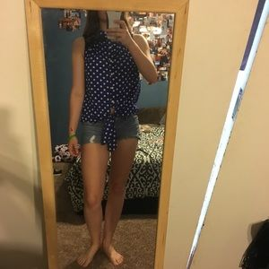 Tops - A royal blue and white polka dot button up