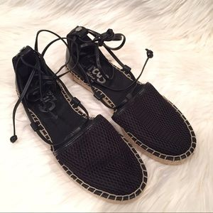 a7a71ebf8779 Circus by Sam Edelman Shoes - Lilly Black Mesh Lace-Up Espadrilles